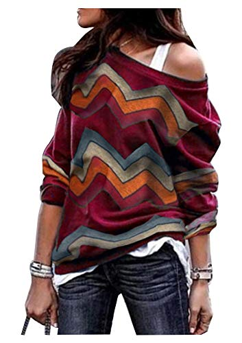Sweater Pullover Boatneck - Womens Soft Loose One Shoulder Boatneck Wave Striped Pullover Sweaters Wine Red XL