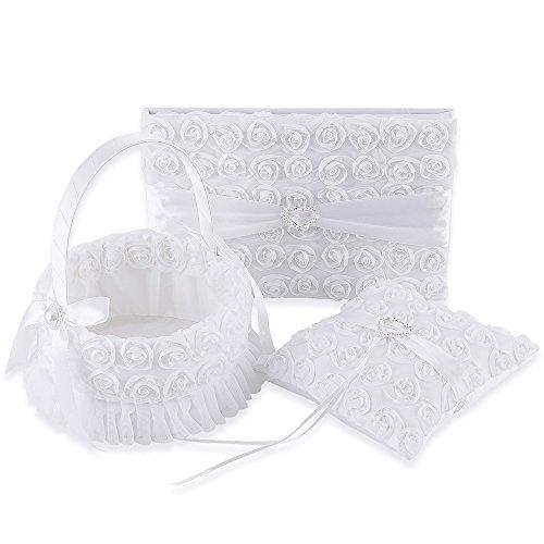 LONGBLE Satin Petal Wedding Flower Girl Basket + Ring Bearer Pillow + Guset Book Elegant Rose Flowers Decor Set White Wedding Ceremony Favors 3Pcs/Set (Round Basket)