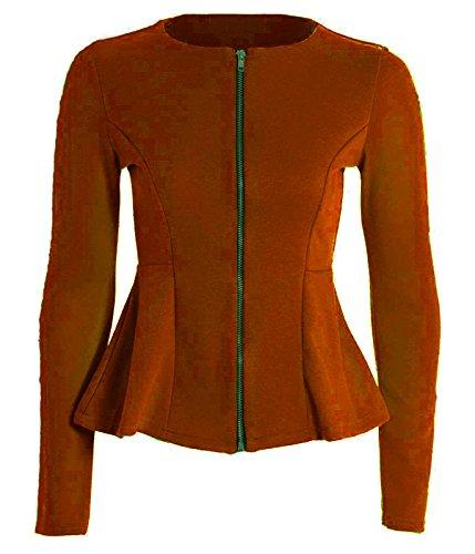 Nuevas mujeres señoras Plain cremallera Peplum volante Tailored Blazer Jacket Coat Top gran tamaño UK 8–�?6 Herrumbre