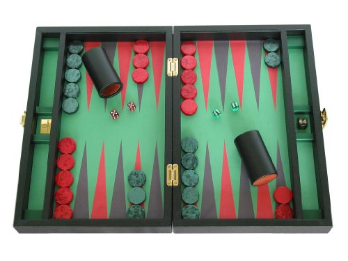 Zaza & Sacci Backgammon Board Set - (16` Leather/Microfiber Case) - Black
