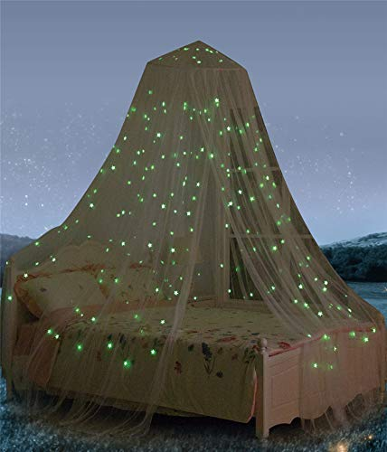 Bed Canopy with Fluorescent Stars Glow in Dark for Baby, Kids, Girls Or Adults, Anti Mosquito As Mosquito Net Use to Cover The Baby Crib, Kid Bed, Girls Bed Or Full Size Bed, Fire Retardant Fabric from South To East