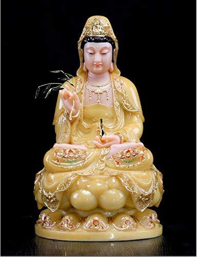 DAJIADS Figurine Figurines Statue Statues Statuette Sculptures Buddha Yellow Jade Gilding Guanyin Buddha Home Temple Efficacious Talisman Mascot Carving Sculpture Statue 30Cm