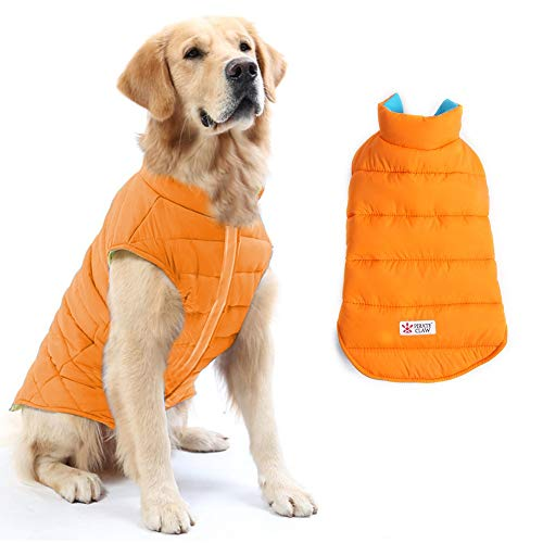 (BBZone Dog Winter Coat Reversible,Cozy Windproof Dog Apparel for Cold Weather,Fall Winter Pet Cloth Warm Classic Jacket,Autume Pet's Clothing Puppy Coats for Medium Large Dogs )