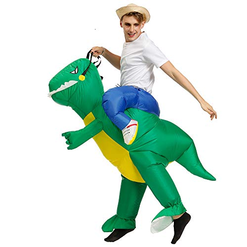 (Qshine Inflatable Rider Costume Riding Me Fancy Dress Funny Dinosaur Dragon Funny Suit Mount Kids)