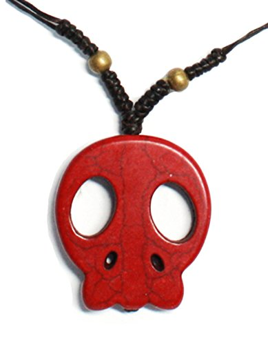 [Bijoux De Ja Handmade Red Skull Head Pendant Station Necklace 15.5 Inches] (Rock And Roll Costume Ideas For Men)