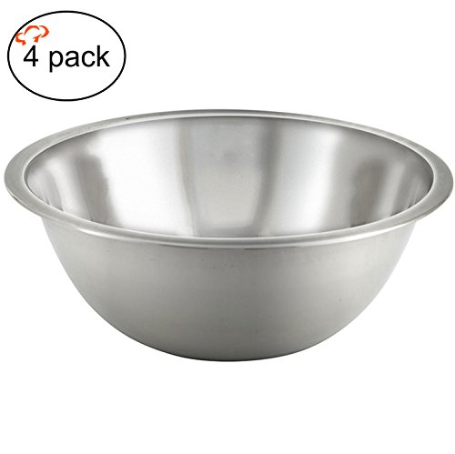 TigerChef TC-20512 Heavy Duty Mixing Bowl for Home and Commercial Use, Best Prep Bowls for Cake Mixtures, Dough's, Salads, Pastas, Dressings, Stainless Steel, 13 Quart (Pack of 4)