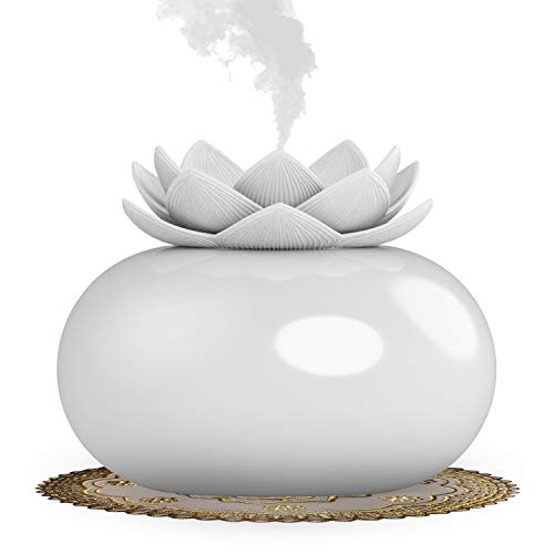 YJY Ceramic Aromatherapy Essential Oil Diffuser, Lotus Flower Humidifier Portable for Office, USB Auto Shut-Off Intermittent 8 Hours Work Air Purifier(Green-White)