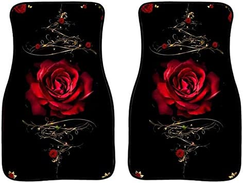 Coloranimal Red Sexy Roses Floral Floor Mats for Cars SUV Trucks All Weather Heavy Duty Auto Accessories for Women Set of 2 Pcs Front Floor Carpets
