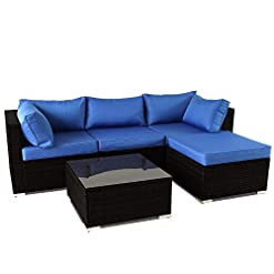 Garden and Outdoor Leaptime Patio Sofa 5-Piece Black PE Rattan Couch Outdoor Garden Furniture with Royal Blue Cushion Party Sectional Sofa… outdoor lounge furniture