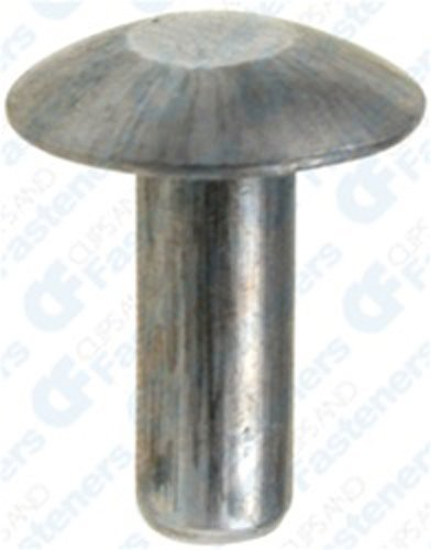 (100) 3/16 Brazier Head Solid Aluminum Rivet 1/2 Length