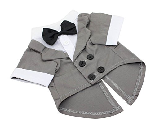 [Freerun Puppy Pet Small Dog Clothes Stylise Suit Bow Tie Costume Wedding Shirt - Gray, S] (Business Suit Dog Costume)