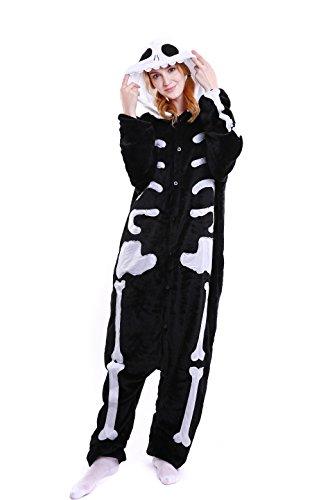 Cleaivy Unsix Adult Skeleton Pajamas - Plush One Piece Costume Cosplay (Night Elf Cosplay Costume)