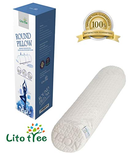 LitoTree Comfort Memory Foam Neck Roll and Cervical Bolster Round Pillow with Removable Washable Soft Tencel Cover for Spine and Neck Back Lumbar Leg Vertebra Support (18x3.5 inch Pillow) ()
