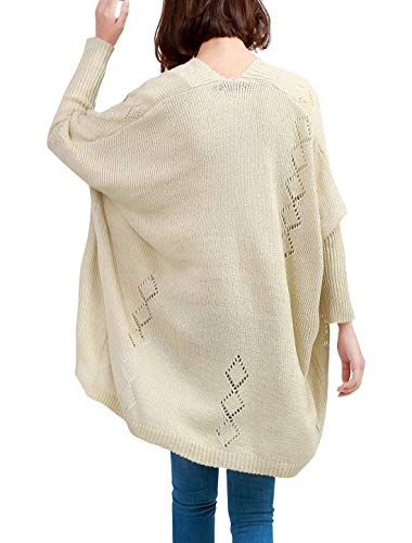 A Moda Maniche Giacca Forcella Casual Donna Elegante Beige Donne Aperto Autunno Cappotto Maglia Asimmetrico Casuale Relaxed Vintage Outerwear Lunghe wqzzY5x6
