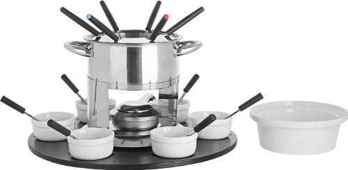 (Trudeau Home Presence Laila 44 Ounce Stainless Steel Fondue Set with Double Boiler Inset and Laze Susan - 24 Piece)