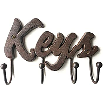 Chic Elements Design Cast Iron Decorative Key Holder - Cast Iron Wall Mount Decorative Keys Rack in Antique Brown Color - Vintage Metal Key Hooks Organizer - Screws and Anchors - 8x5.5 - Special