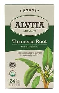 Alvita Organic Herbal Tea Turmeric Root -- 24 Tea Bags Each / Pack of 2