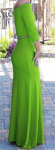 La Minceur Des Femmes Cromoncent Hors Épaule Manches 3/4 Parti Vert Maxi Robe Moulante Clubwear