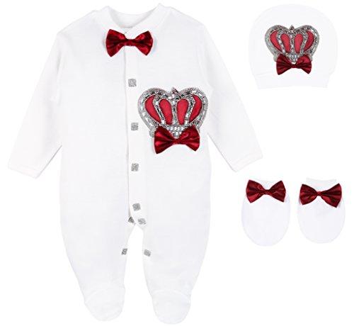 Lilax Baby Boy Newborn Crown Jewels Layette 3 Piece Gift Set 0-3 Months Burgundy