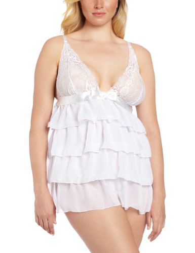 Dreamgirl Women's Plus Size Bridal Bliss Babydoll