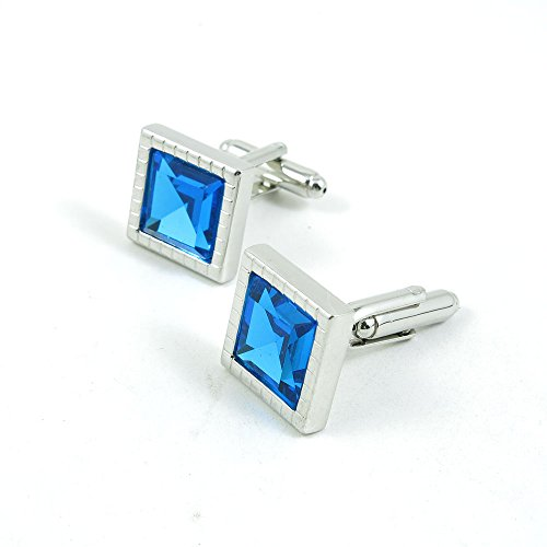 50 Pairs Cufflinks Cuff Links Fashion Mens Boys Jewelry Wedding Party Favors Gift 928RL0 Dark Blue Square Zircon by Fulllove Jewelry