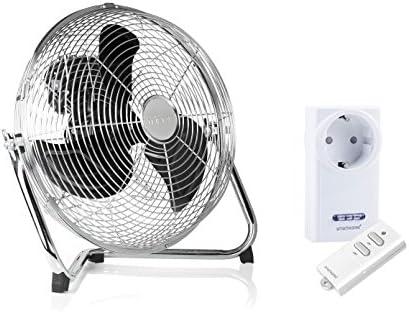 Ventilador de suelo en plata, 35 cm de diámetro, 70 W + enchufe de control remoto + Mando a distancia: Amazon.es: Bricolaje y herramientas