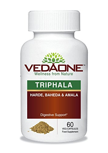Triphala Extract Capsules (Three Fruit Harde Baheda & Amble/Amalaki) Capsules Digestive Support 450 Mg-60 Vegetarian Capsule Per Bottle-by Vedaone