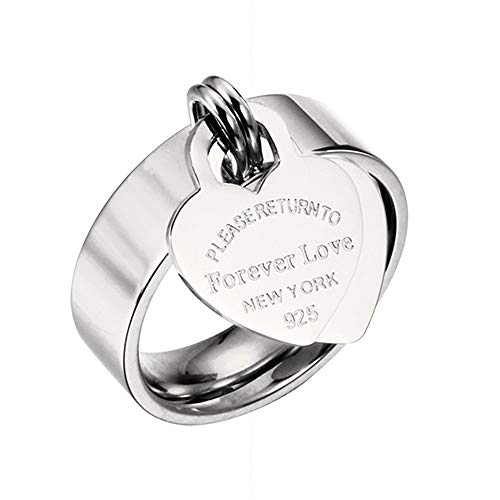 (Designer Inspired Silver Titanium Steel Forever Love Heart Tag Ring (6))