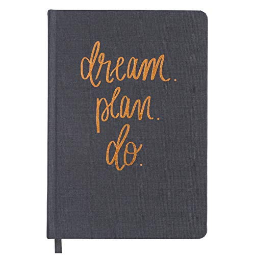 Dream Plan Do Grey and Rose Gold Fabric Journal Personal Diary Fulfill Your Dreams Graduation Boss Gift For Her College Work Cube