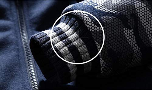 Uomo Maglione Casual Grandi Scuro In Style Punk Camouflage Giacca Blu Dimensioni Da Di aYIqBw