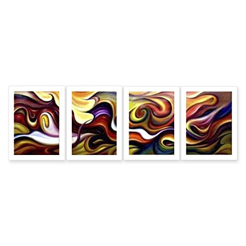 Hand Painted Canvas Paintings Abstract Art Rolled 4 pieces/set - total 120X40cm (approx. 48X16 inch) Unmounted for Living Room Wall Decoration - Magic Colorful Clouds