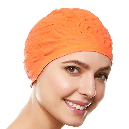 (Beemo Women Swim Bathing Caps Ladies Retro Style Latex Embossed- Orange)