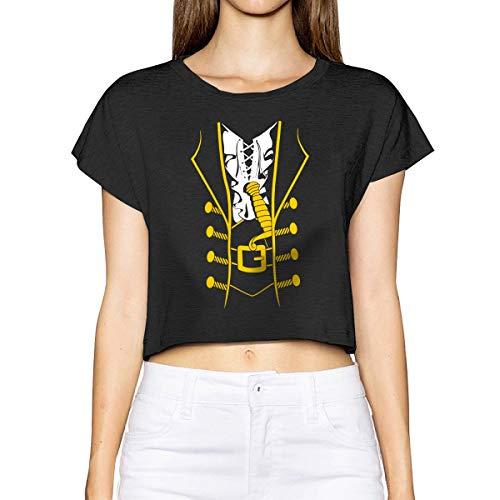 Novelty Halloween Costume Women's Casual Short Sleeve Crop Top T-Shirt L Black