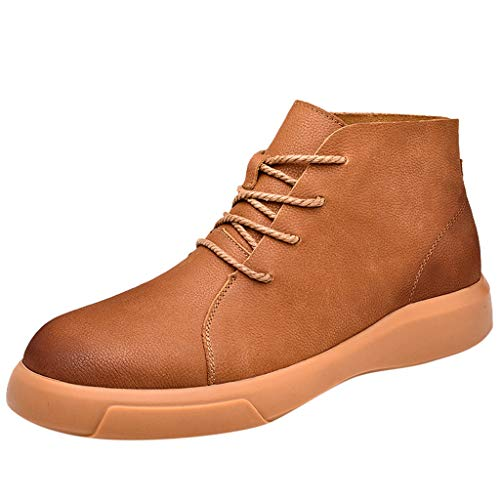 Haalife◕‿Men's Suede Suede Leather Ankle Chukka Boots Lace Up Oxfords Casual Fashion Combs Nylon Combat Boot Brown ()