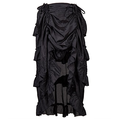 Alex sweet Black Adjustable Ruffle Asymmetric Vintage Gothic Skirt Plus Size Steampunk Corset Skirt Long Victorian Skirts For Women S-6XL (XXL, (Victorian Plus Size)