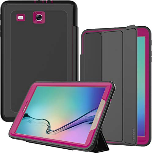 SEYMAC Samsung Galaxy Tab E 9.6 Case, Three Layer [Drop Protection] Rugged Protective Heavy Duty Case with Magnetic Trifold Stand Cover Compatible with Tab E 9.6 inch (SM-T560/T561) Black/Rose