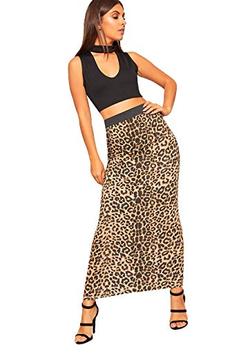 WearAll Women's Multi Print Elasticated High Waist Stretch Maxi Long Skirt New - Brown Leopard - US 14-16 (UK 18-20) (Leopard Skirt Stretch)