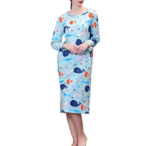 ENJOYNIGHT Women's Cotton Sleepwear Nightgown Long Sleeves Print Sleep Dress with Pockets(Fish, ()