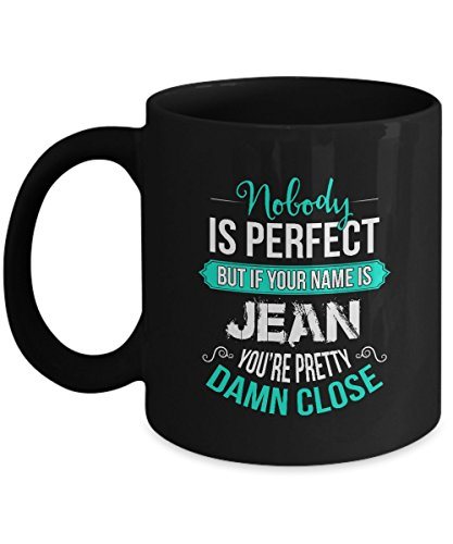 Personalized Beer Mugs With Names - Name is JEAN - Cheap Personalized Gifts - Personalized name woman - Birthday, Christmus Gifts For JEAN , Women, Girls - 11Oz Ceramic Tea Cup Black, Funny Mug