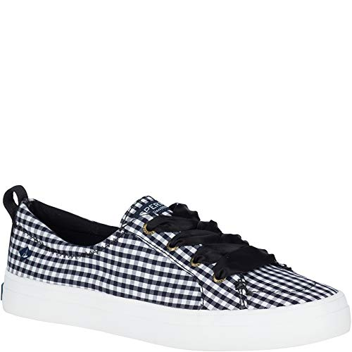 Sperry Top-Sider Crest Vibe Gingham Sneaker Women 7 Black/White