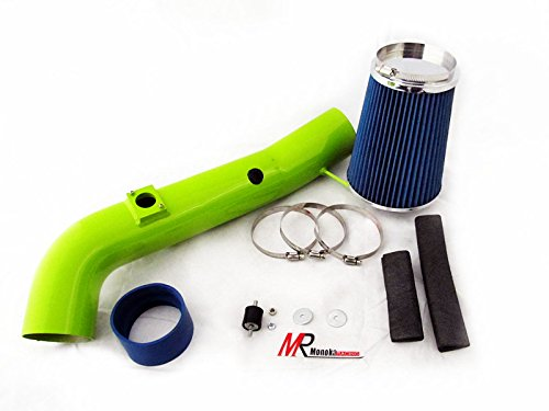 2001 2002 2003 Chevrolet Silverado 2500HD/3500 All Model with 6.6L V8 Turbo Diesel Engine Green Piping Heat Shield Cold Air Intake System Kit with blue Filter