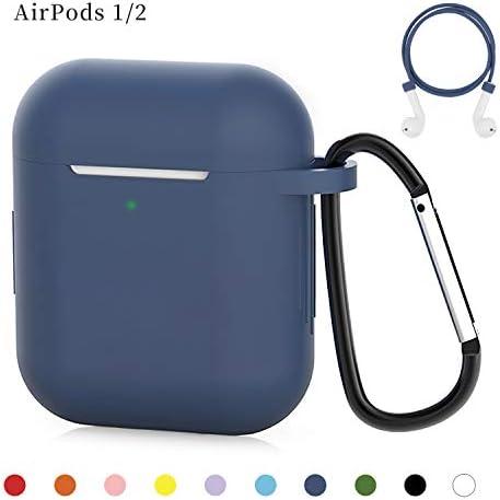 AirPods ケース AirPods 第1/2世代に適用 防水シリコンカバー 保護ケース ワイヤレス充電対応 耐衝撃 防塵 軽量小型 紛失防止 (前のLEDライトが見える)