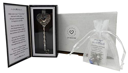 Bride Gifts - Ganz The Key to a Happy Marriage and Angel for The Bride Something Blue Bouquet Charm Gift Set - Thoughtful Gifts for The Bride Beautifully Packaged and Ready to Gift!
