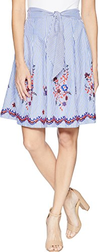 Nine West Women's Embroidered Seersucker Skirt with Detailing, Chambray Multi, 10
