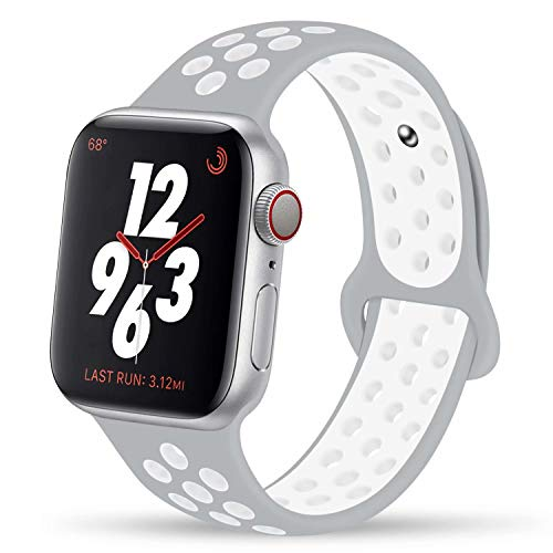 YC YANCH Greatou Compatible for Apple Watch Band,Soft Silicone Sport Band Replacement Wrist Strap Compatible for iWatch Apple Watch Series 3/2/1,Nike+,Sport,Edition,38mm M/L,Pure Platinum ()