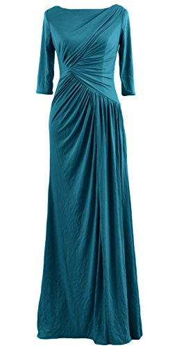 Sleeve MACloth Celebrity Dress Evening Teal Jersey Boat Gown Long Half Women Neck UwqgwT