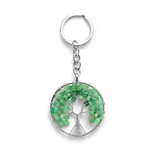 Joya Gift Tree of Life Womens Keychain Charm Green Aventurine Natural Crystal Pendant - Gemstone Aventurine Keychain