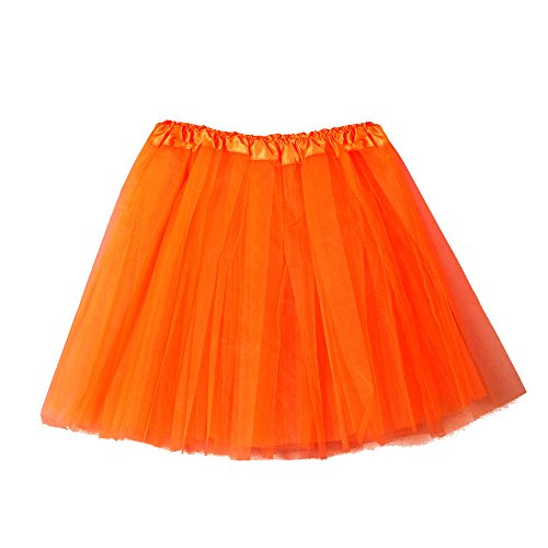Short Tutu Skirts for Women Tulle High Waist Solid Color Ballet Bubble Skirt (Free Size, Orange)