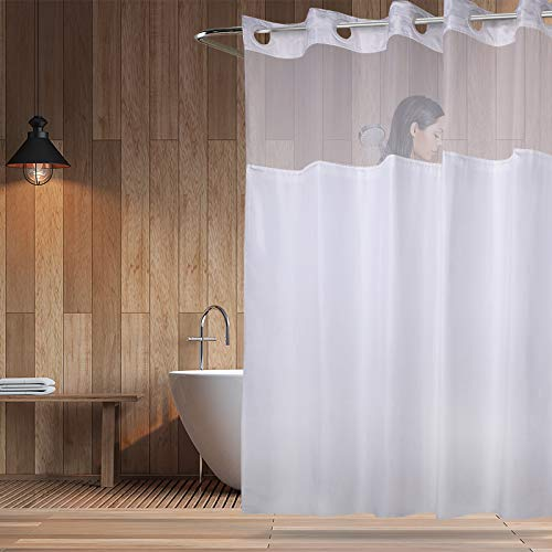 Plastic Split Rings - YQN Hookless Shower Curtain with Magnet 70.8 x 74 Inch Polyester Thickening Bath Curtain with Light-Filtering Mesh Screen Anti Mildew ABS Flex-On Rings White