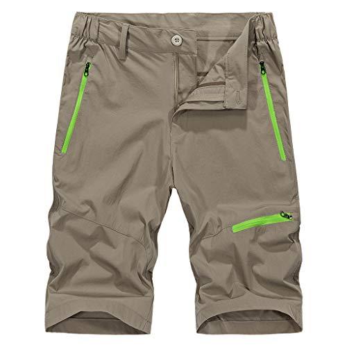 (Sunhusing Men's Outdoor Fluorescent Zipper Pocket Sports Shorts Summer Casual Loose Button-Down Shorts Khaki)